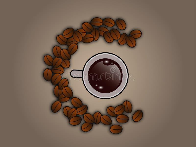 Chicchi di caffè intorno alla tazza di caffè illustrazione vettoriale