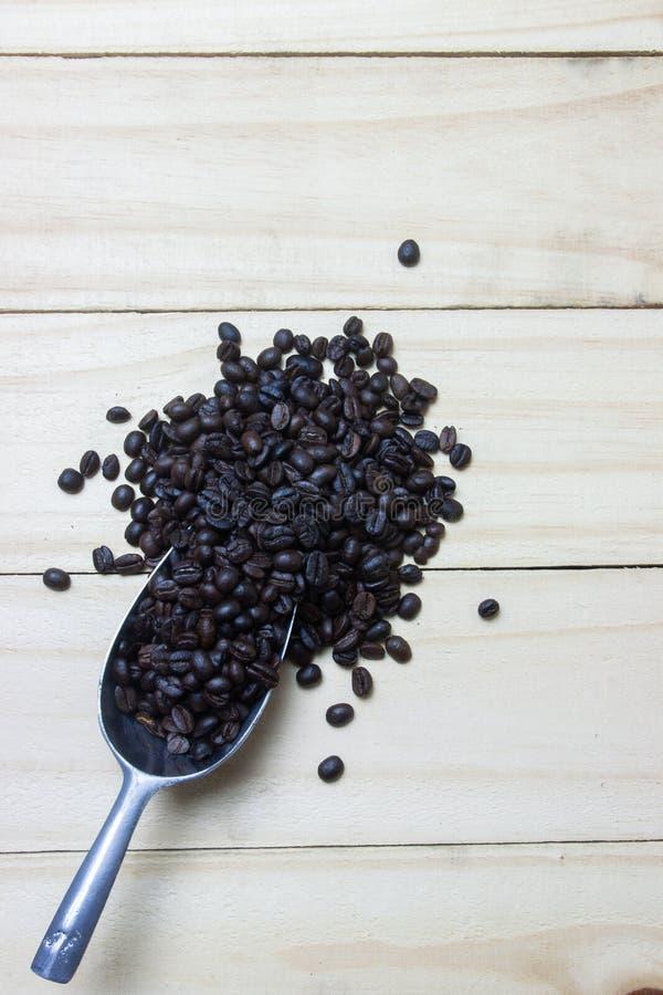 Chicchi di caffè in mestolo su fondo di legno immagine stock