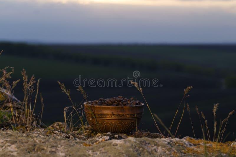 Chicchi di caffè nella ciotola ceramica fotografia stock