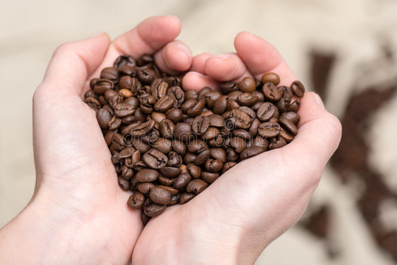 Chicchi di caffè nella forma del cuore di amore fotografia stock libera da diritti