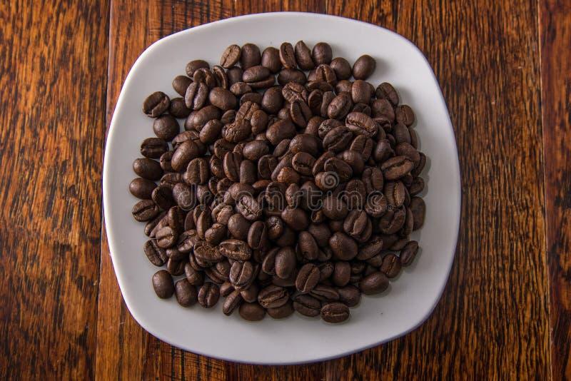 Chicchi di caffè sulla zolla bianca fotografia stock libera da diritti