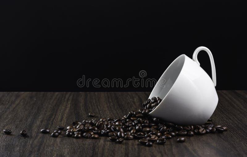 Chicchi di caffè in tazza bianca immagine stock