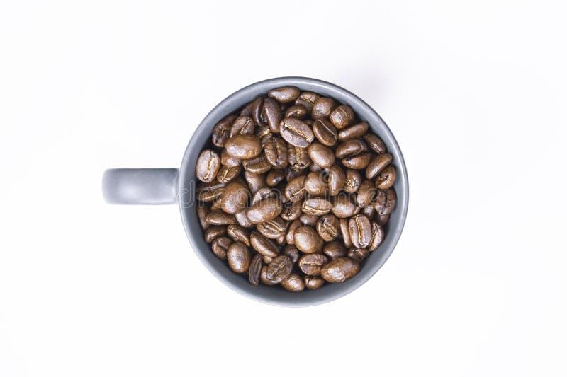 Chicchi di caffè in tazza di caffè scura su fondo bianco isolato fotografia stock