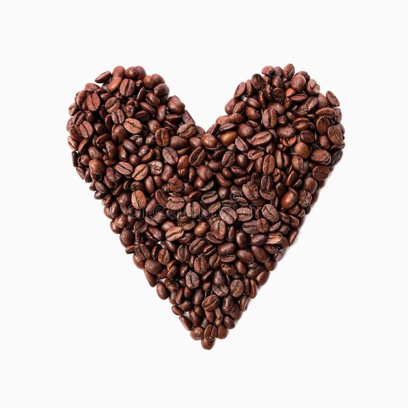 Chicchi di caff? di forma del cuore immagine stock libera da diritti