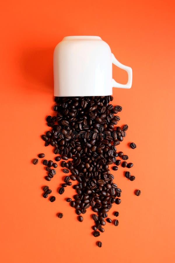 Chicchi di caff? in tazza di caff? isolata su bianco fotografia stock libera da diritti