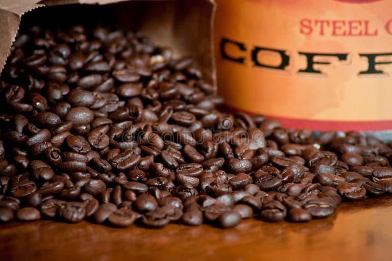 Chicchi e vaso di caffè fotografia stock