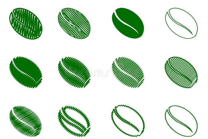 Chicco di caffè - colore verde di vettore illustrazione vettoriale