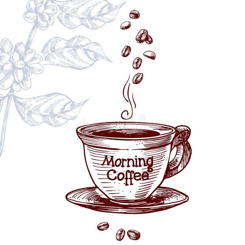 Chicco di caffè e della bevanda nello stile d'annata dell'incisione royalty illustrazione gratis