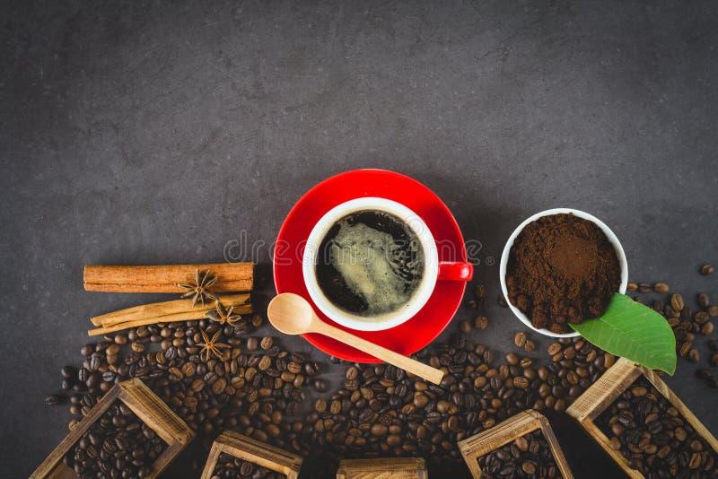 Chicco di caffè piano di disposizione immagine stock libera da diritti