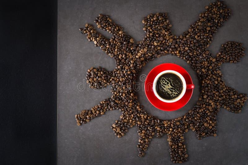 Chicco di caffè piano di disposizione fotografia stock