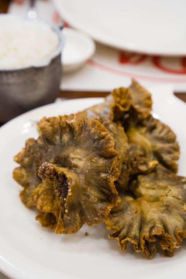 Chicharon bulaklak lub smażący wieprzowiny jelito zdjęcia royalty free