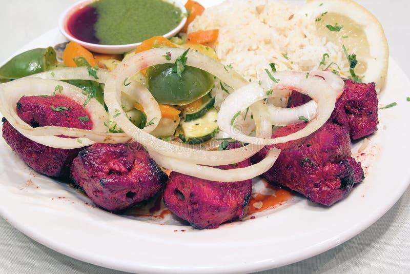 Chiche-kebab d'agneau d'Indien est avec le plan rapproché de riz photos libres de droits