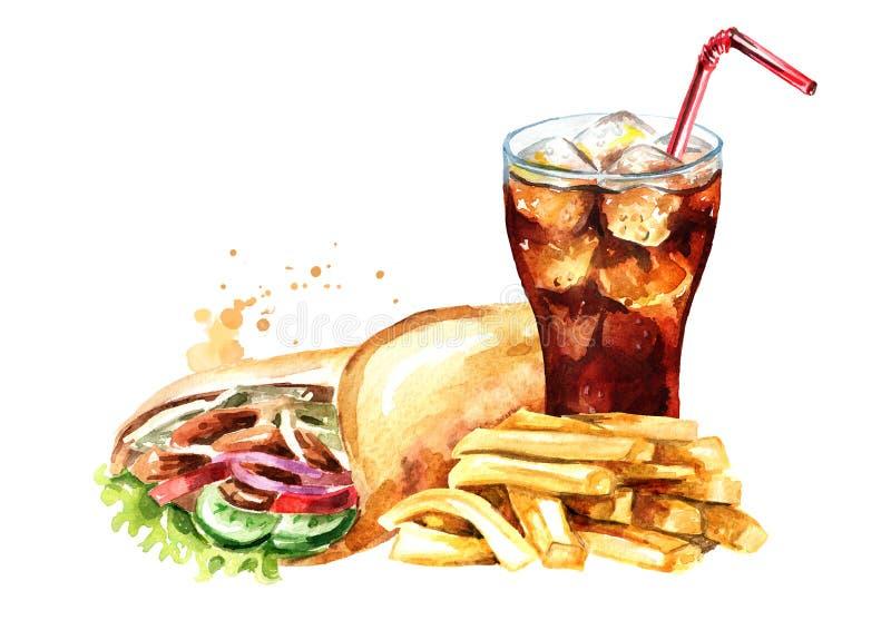 Chiche-kebab de Doner avec des pommes frites et un verre de kola avec de la glace Illustration tir?e par la main d'aquarelle, d'i illustration stock