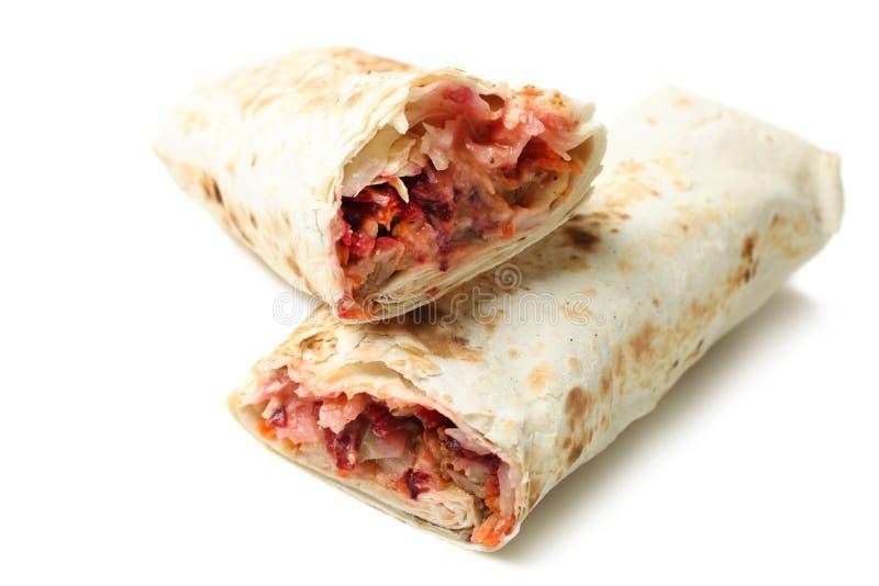 Chiche-kebab de Doner, shawarma dans le pain pita avec le remplissage de viande image libre de droits