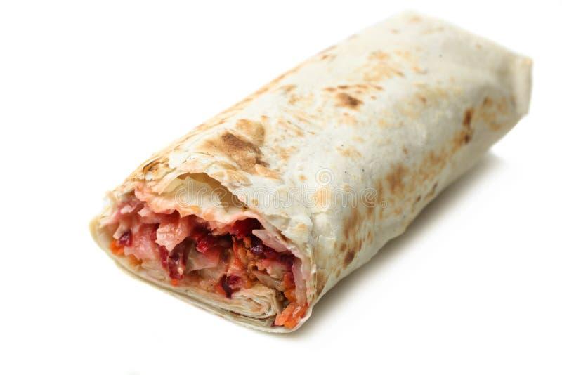 Chiche-kebab de Doner, shawarma dans le pain pita avec le remplissage de viande photo libre de droits