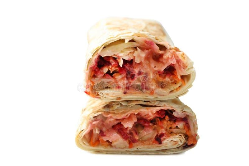Chiche-kebab de Doner, shawarma dans le pain pita avec le remplissage de viande photographie stock
