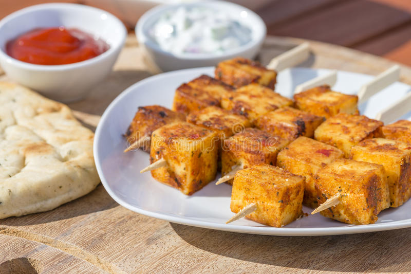 Chiche-kebab de Paneer Tikka photos stock