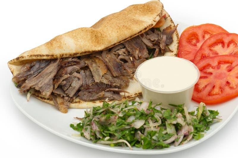 Chiche-kebab de Shawarma Doner d'un plat image stock