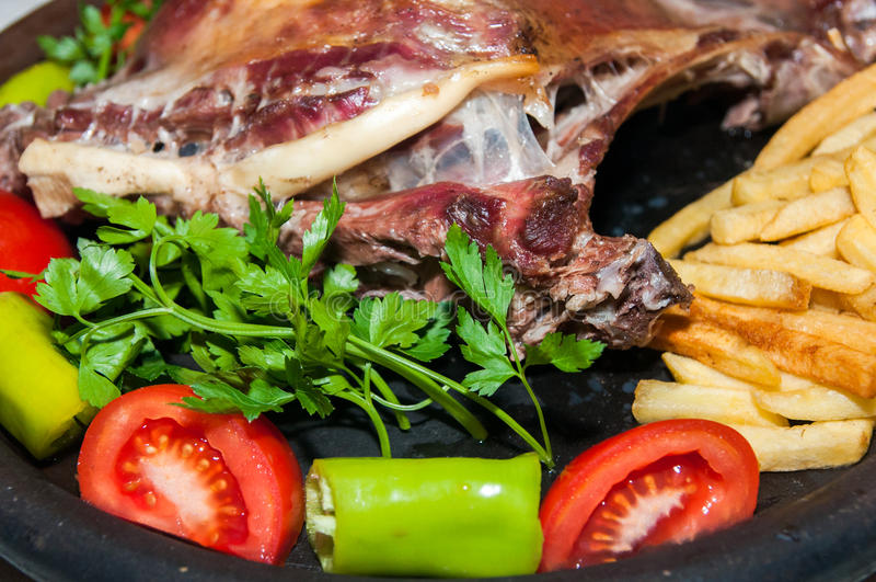 Chiche-kebab et Fried Potatoes turcs images libres de droits