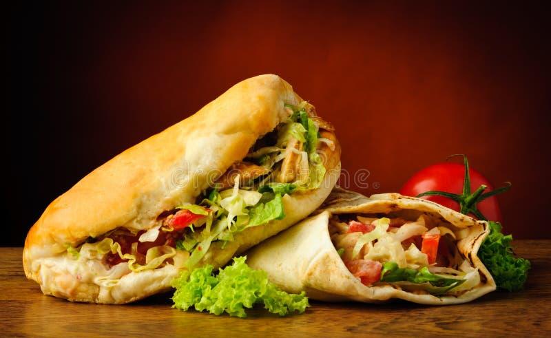 Chiche-kebab et shawarma photographie stock libre de droits