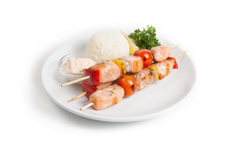 Chiche-kebab saumoné préparé images libres de droits