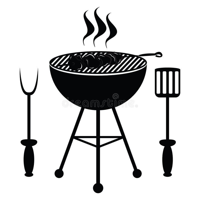 Chiche-kebab sur le gril de barbecue illustration de vecteur