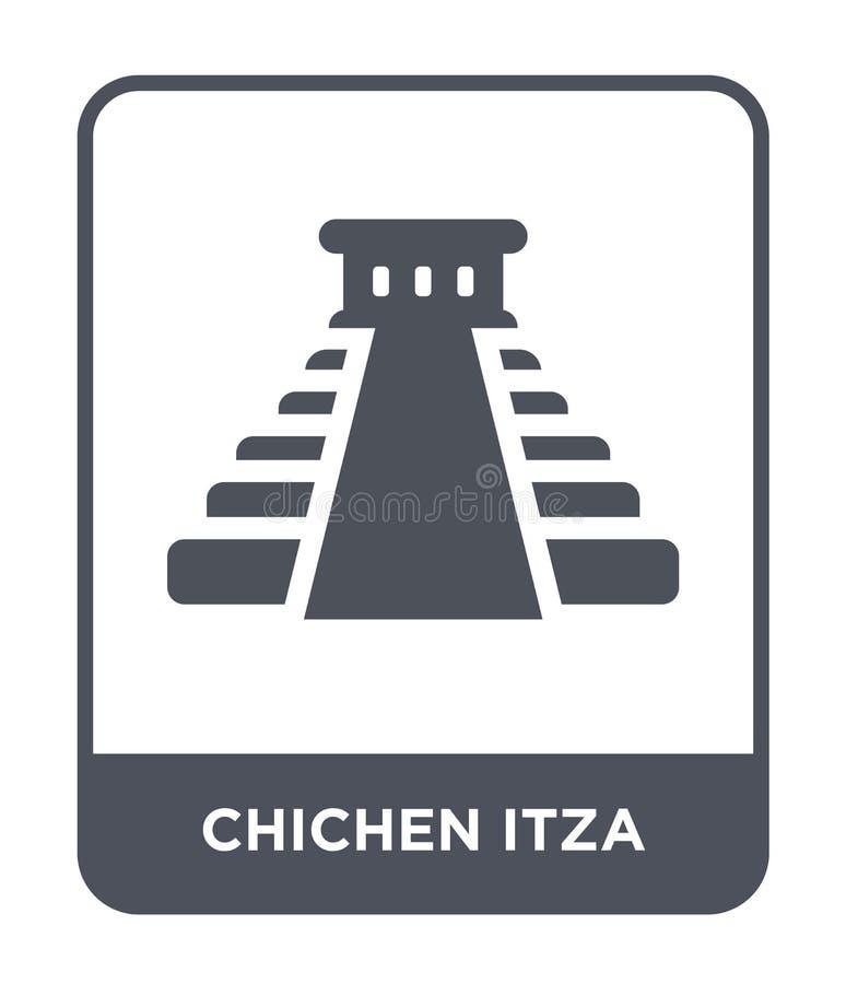 chichen在时髦设计样式的itza象 chichen在白色背景隔绝的itza象 chichen itza简单传染媒介的象和 库存例证