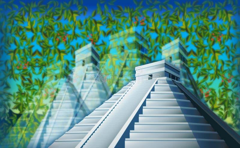 chichen den surrealistic itzadjungeln royaltyfri illustrationer