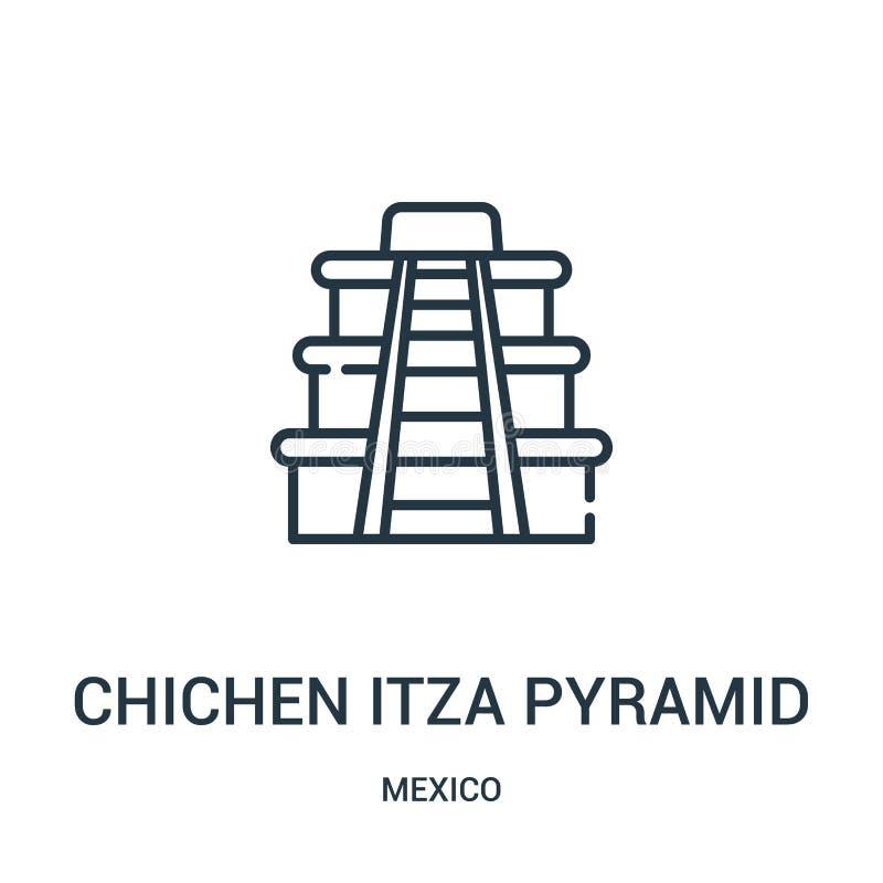 chichen het pictogramvector van de itzapiramide van de inzameling van Mexico De dunne lijn chichen van het het overzichtspictogra vector illustratie