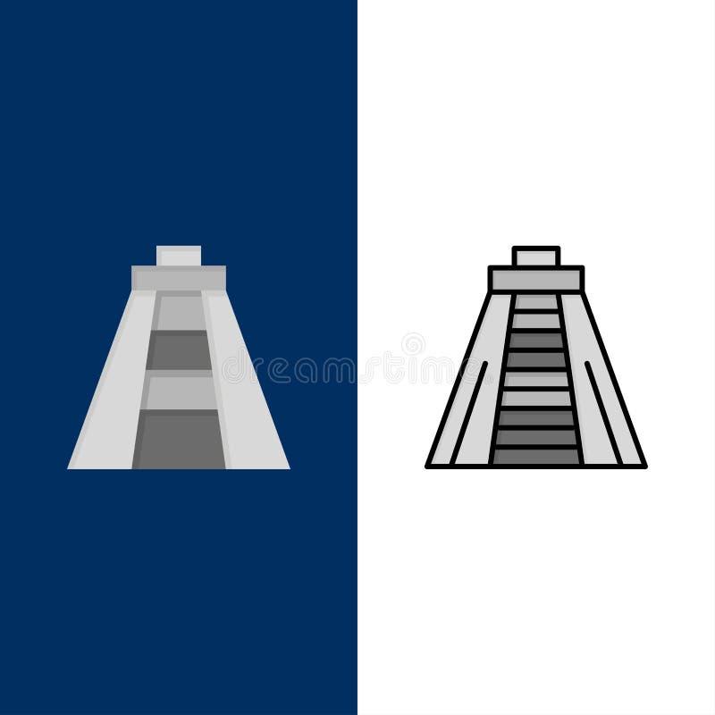 Chichen Itza, ориентир, значки памятника Квартира и линия заполненный значок установили предпосылку вектора голубую иллюстрация вектора
