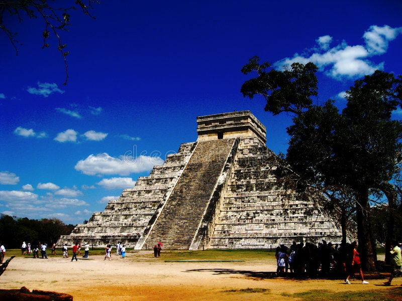 Chichen itza. A picture of the Mayan pyramid located in Chichen Itza, near Cancun on the Yucatan peninsula. The ancient architectural ruin was recently voted one stock photo