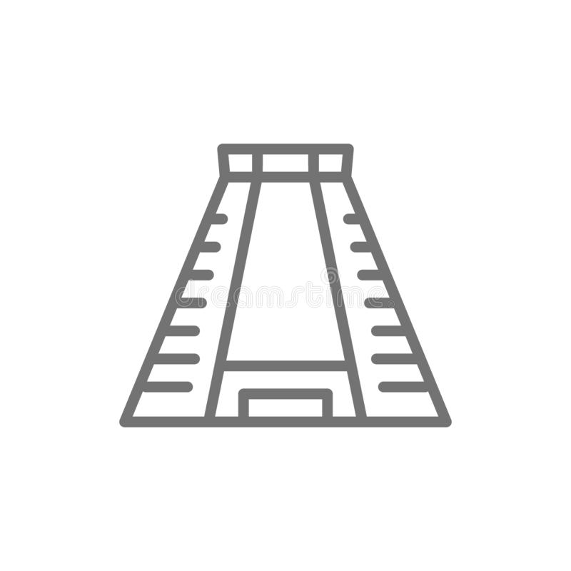 Chichen Itza, ancient mayan pyramid line icon. vector illustration