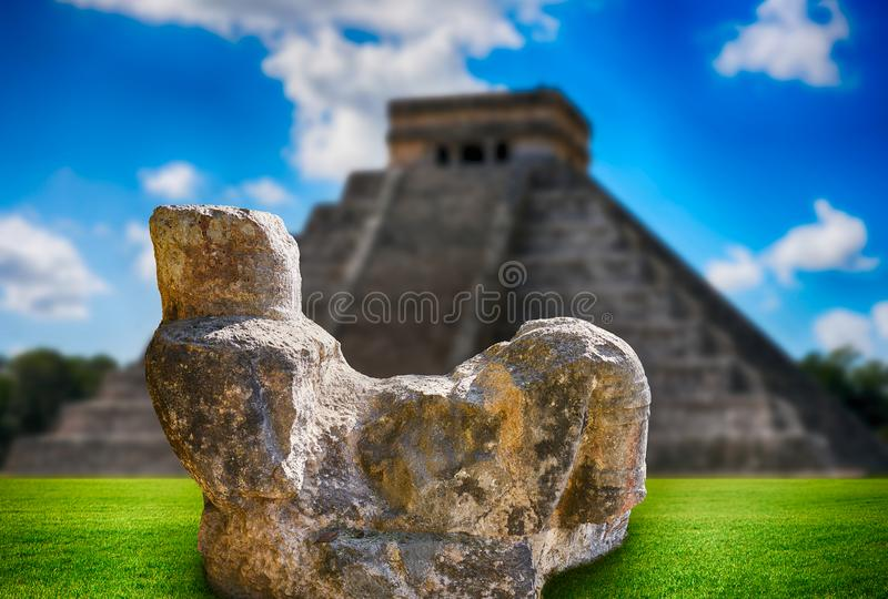 Chichen Itza Chac Mool sculpture illustration royalty free stock images