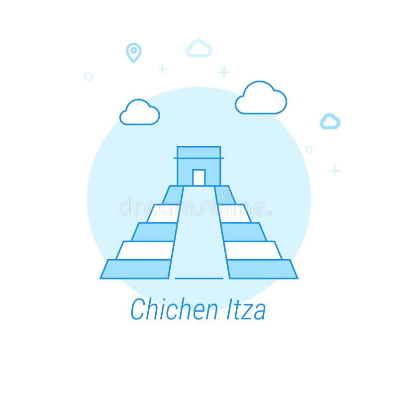 Chichen Itza, de Vlakke Vectorillustratie van Mexico, Pictogram Lichtblauw Zwart-wit Ontwerp Editableslag vector illustratie