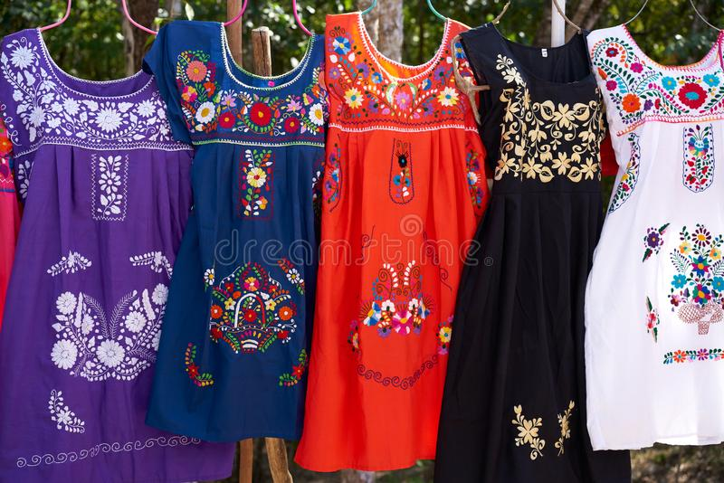 Chichen itza embroided dresses Mexico. Chichen itza embroided dresses in outdoor shop Mexico Yucatan royalty free stock images