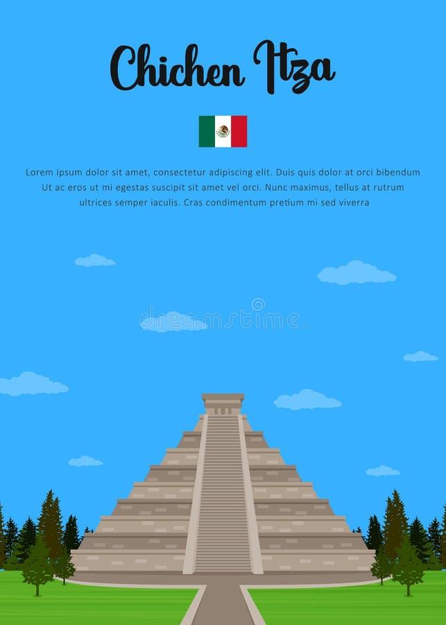 Chichen Itza en México stock de ilustración