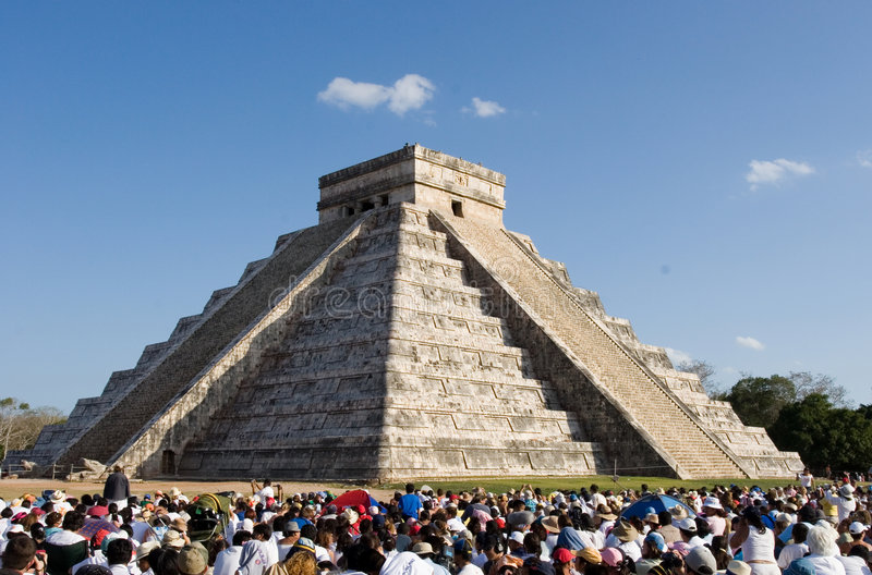 Chichen Itza. Equinox royalty free stock photo