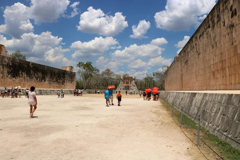 Chichen Itza The Grand Ball Court. He Grand Ball Court, a part of the Maya Chichen Itza archaeological site in the Mexican state of Yucatan. There are over 1,300 stock images