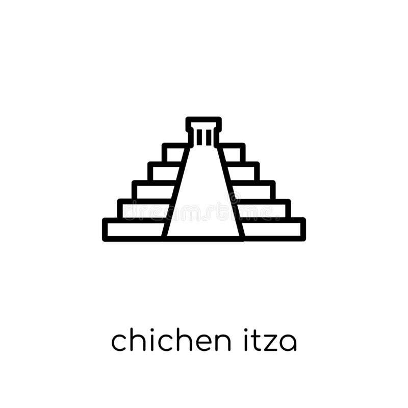 Chichen Itza icon. Trendy modern flat linear vector Chichen Itza icon on white background from thin line Architecture and Travel stock illustration