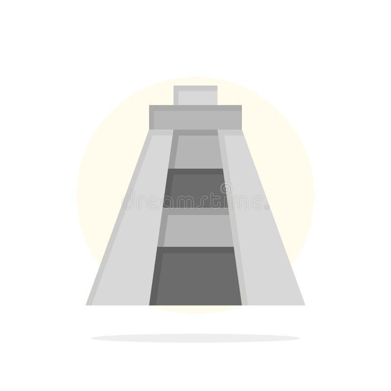 Chichen Itza, Landmark, Monument Résumé Cercle Arrière-plan Couleur plate Icône illustration libre de droits
