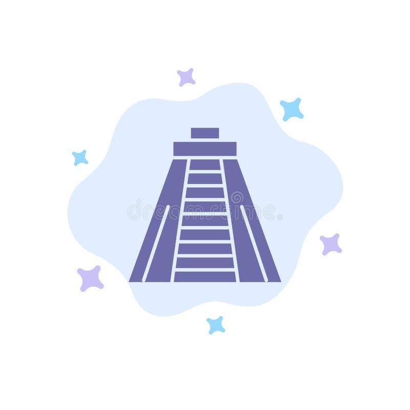 Chichen Itza, lieu historique, icône bleue du monument sur le nuage abstrait Contexte illustration stock