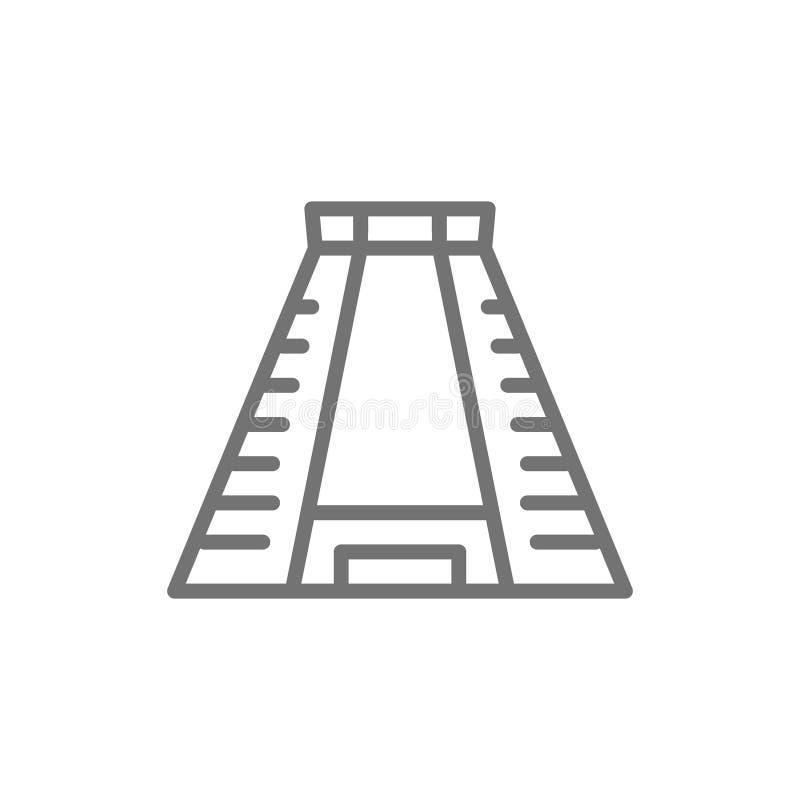 Chichen Itza, linha maia antiga ícone da pirâmide ilustração do vetor