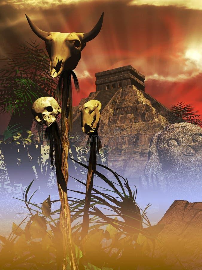 Chichen itza majska ruina royalty ilustracja