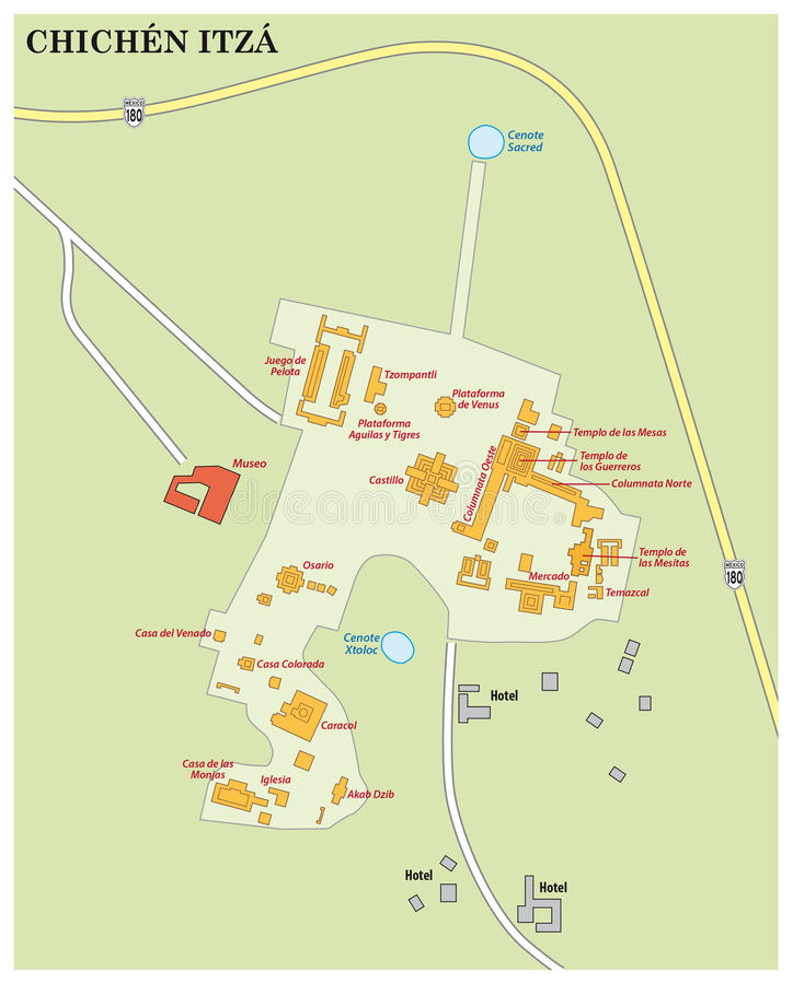 Chichen Itza map, mexico. Map of maya ruin site Chichen Itza on the Yucatan peninsula, Mexico royalty free stock photos