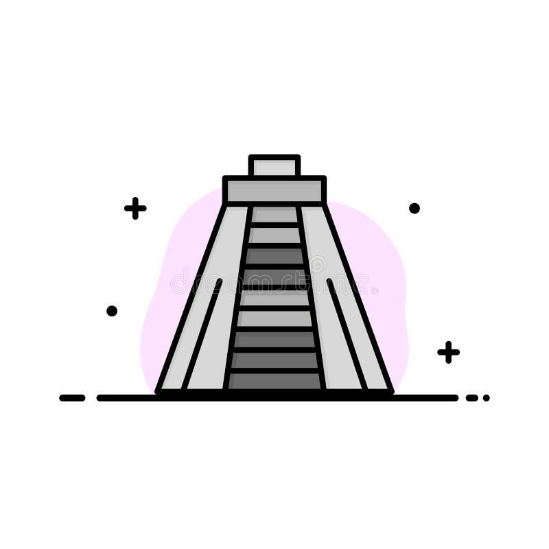 Chichen Itza, marco, linha lisa do negócio do monumento encheu o molde da bandeira do vetor do ícone ilustração stock