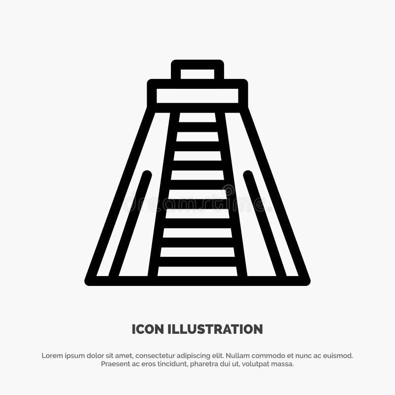 Chichen Itza, Markstein, Monument-Vektor-Linie Ikone stock abbildung