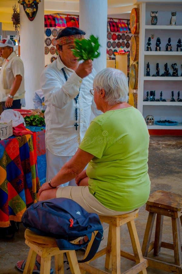 CHICHEN ITZA MEKSYK, LISTOPAD, - 12, 2017: Salowy widok Indiański chaman używa rośliny leczyć chorych ludzi wśrodku a zdjęcie royalty free