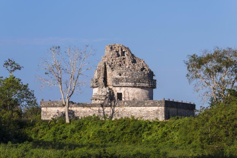 Chichen Itza, Mexico - het waarnemingscentrumtempel van Gr Caracol stock foto's