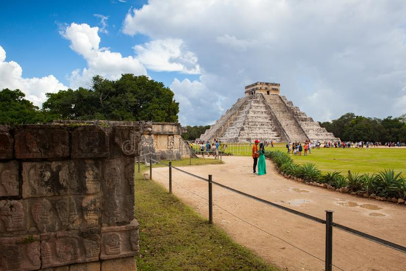 Majestic Mayan ruins in Chichen Itza,Mexico stock images