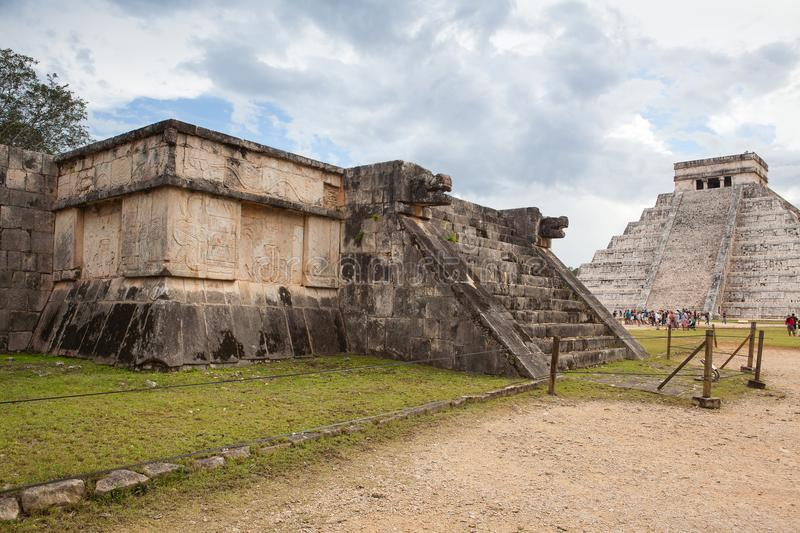 Majestic Mayan ruins in Chichen Itza,Mexico. royalty free stock images